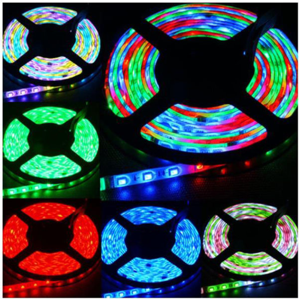 RGB SMD 3528 10M 600LED Strip Light med 12V adapterkontakt 44Key
