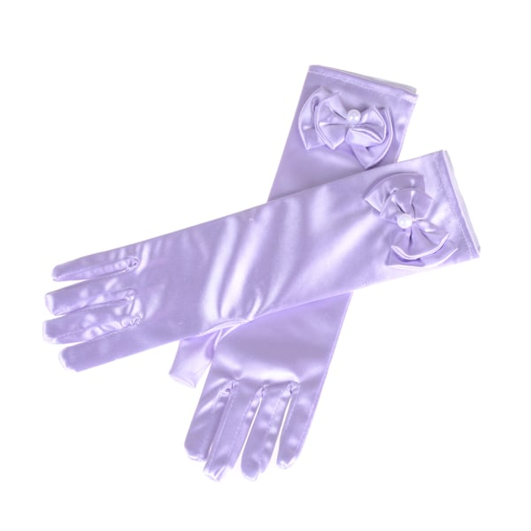 Satin Bow Pearl Långa handskar Armbågslängd Prinsessakostymklänning