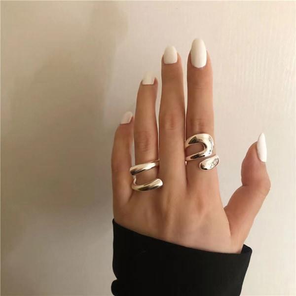 silverringar kvinnor mode kreativa ihåliga oregelbundna geometriska b A