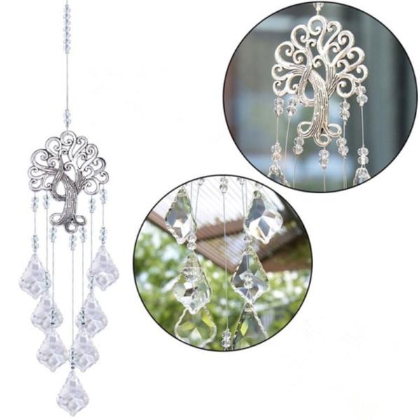Livets träd hängande kristallkula prismer lönnlövform H