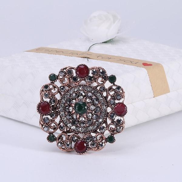 turkisk broschnål för kvinnor antik rund blomma rhinestone knä One Size