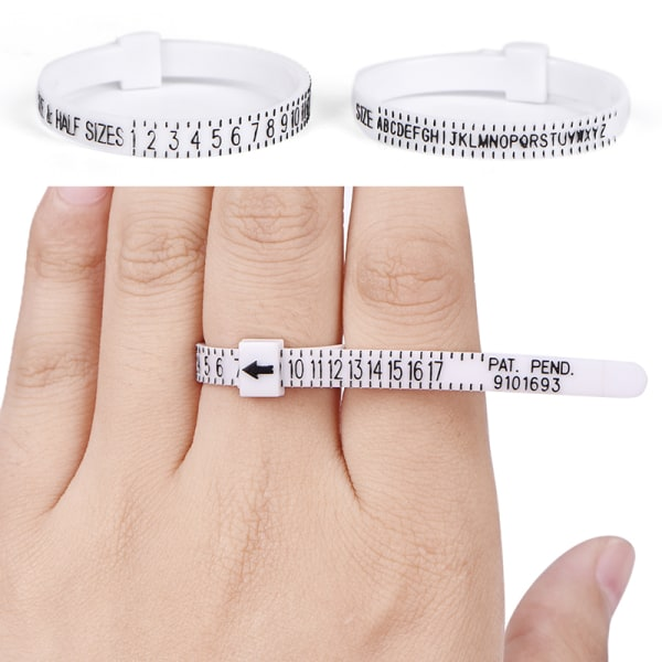 UK US Ring Sizer Mät fingermått för vigselringband Eng