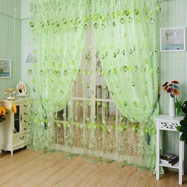 Valances Tulip Floral Tulle Voile Door Window Curtain Draper Pan
