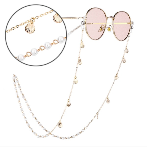 Kvinnor Shell Handgjorda Pearl Eyewears Kedjor Beaded Eyeglass Lany