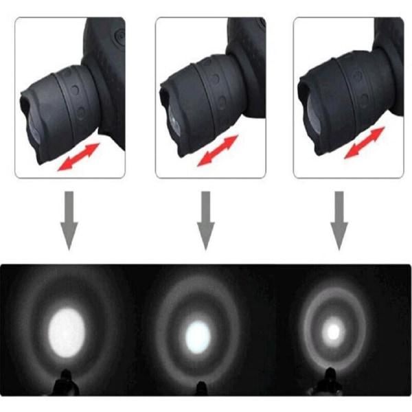 Pannlampa LED 3W Med 3 Olika Lägen, Zoom Funktion grå