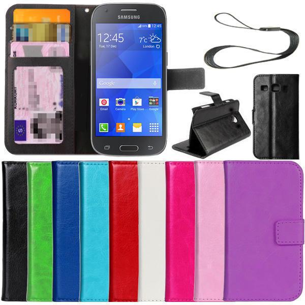 Slimmad plånbok fodral Samsung Galaxy Ace 4 ID/Fotoficka Vit