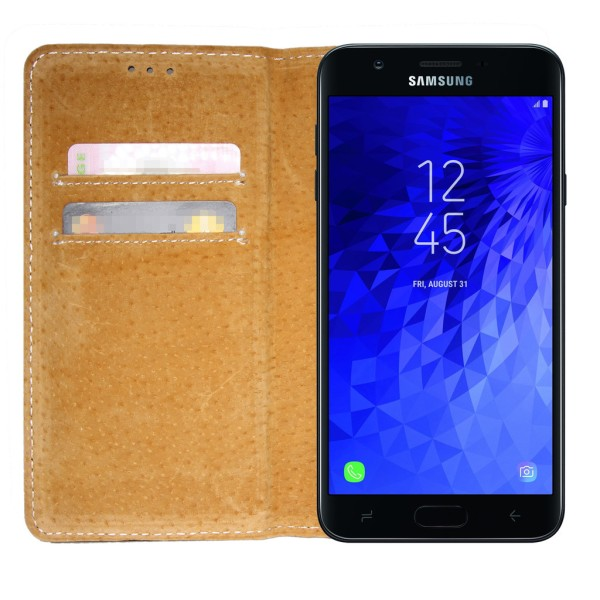 Äkta Läder Plånboksfodral Samsung Galaxy A6 PLUS 2018 Svart Book Svart