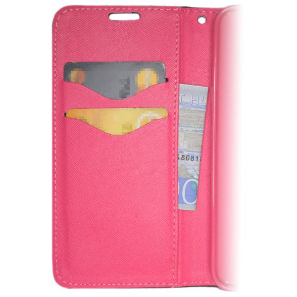 Samsung Galaxy J4 PLUS Plånboksfodral Fancy Case Svart-Rosa multifärg