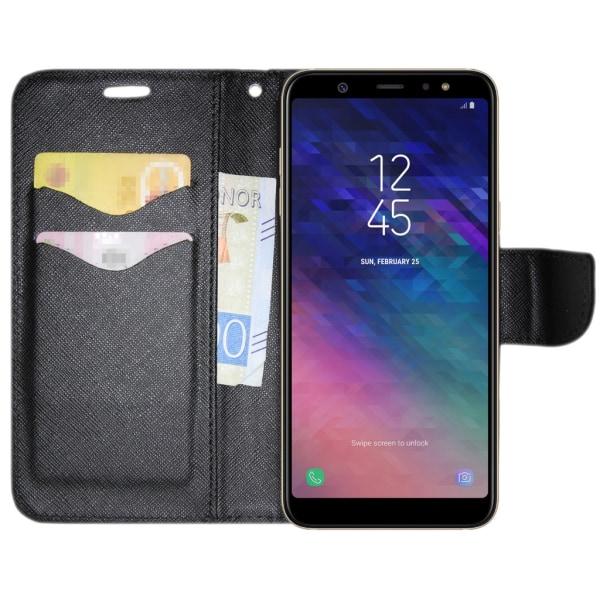 Samsung Galaxy A6 PLUS Plånboksfodral Fancy Case Svart Svart