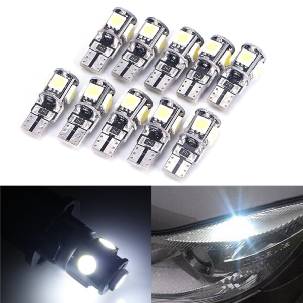 10x T10 Led Canbus Error Free 5 SMD Car Side Wedge Light Bulb W