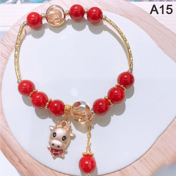 1 st Red Stone Charms Armband 2021 Year of The Ox Mascot Bracele