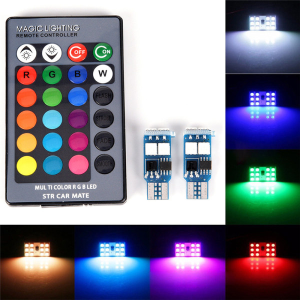 2 X T10 W5W 6 SMD 5050 RGB LED Car Wedge Side Light Reading Bul