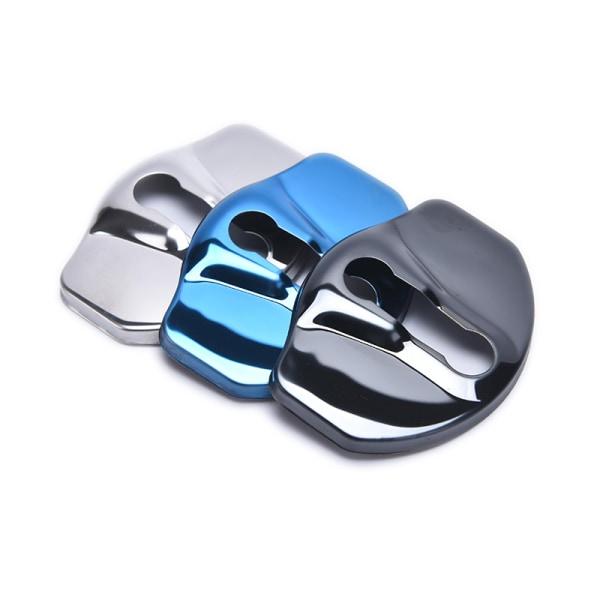 4st rostfritt stålskydd för dörrlås för Tesla M. Silver