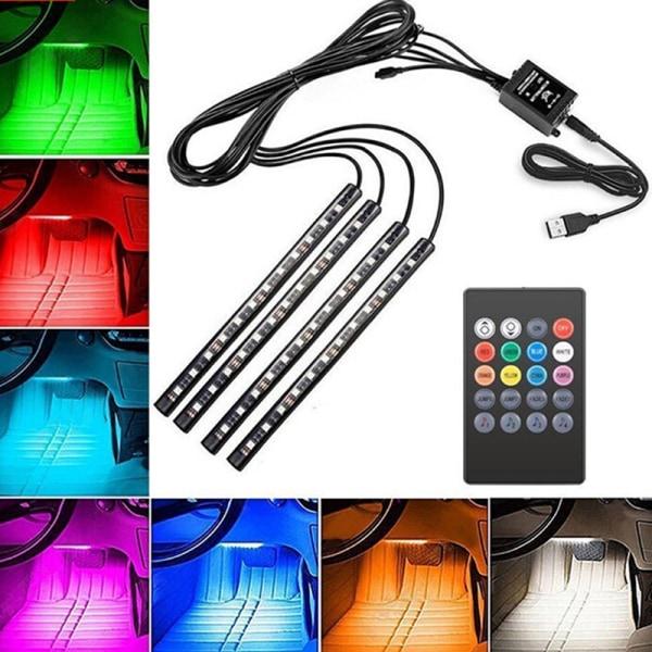 4x 12LED RGB bilinteriör atmosfär Footwell Strip Light USB C