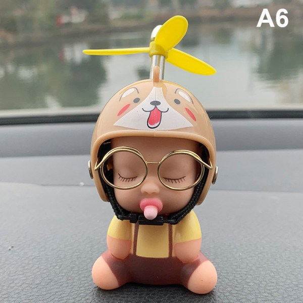 bil leksak anka napp baby docka söta barn med hjälm för bil ac 6