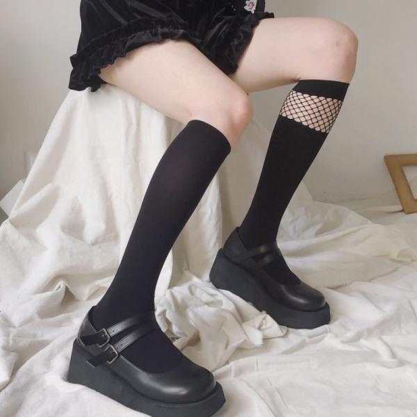 Mode långstrumpor Kvinnor lapptäcke Mesh höga knästrumpor Wom
