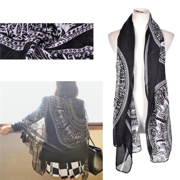 Mode Vintage kvinnor lång mjuk bomull Voile Print halsdukar Shaw