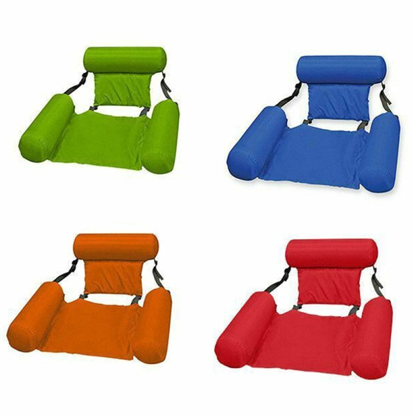 Uppblåsbara simning flytande stol poolplatser vikbart vatten Be