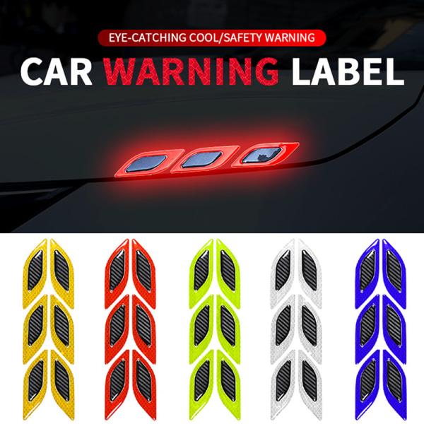 klistermärken för bil 6st / set bilreflekterande remsor kolfiberbil White