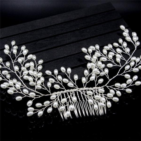 Lyxiga Vintage Bride Hair Accessories Handgjorda Pearl Wedding Je