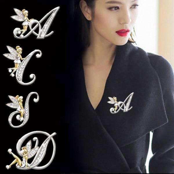 Ny metallkristall engelska brevord brosch kvinnor Elf Angel Shi