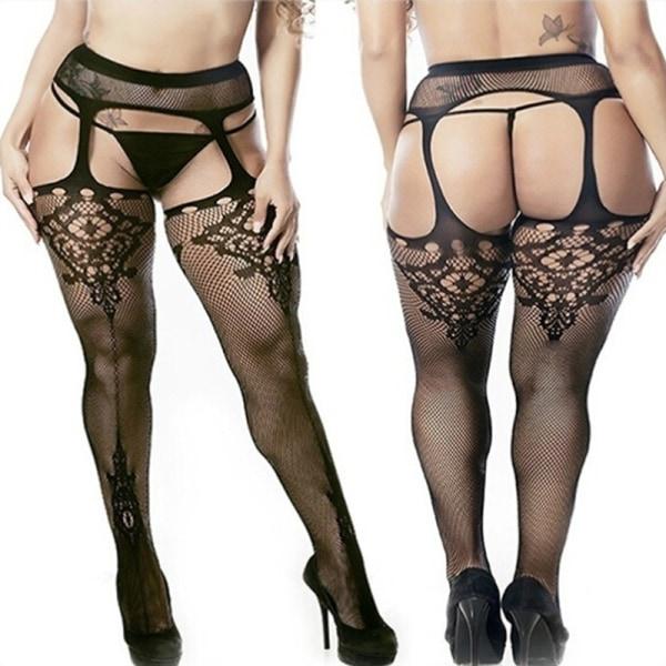Plus Size Sexiga kvinnor Bodystockings Hängslen Strumpbyxor Tight St.