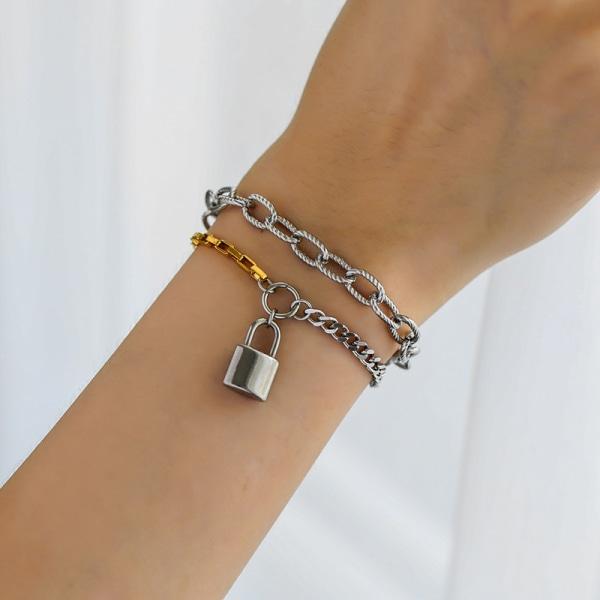 Punk dubbla lager lås kedja armband kvinnliga armband armband f