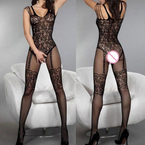 Sexiga kvinnor Black Fishnet Sheer Open Crotch Body Stocking Bodysu