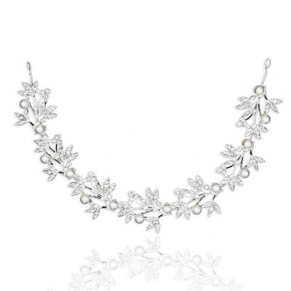 Silverböjbart pärlkristallbrudhårband med brudhår