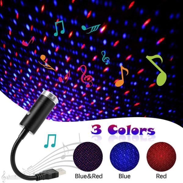 USB Star Light 3 färger 9 Ljuseffekter Auto Tak Romantic S