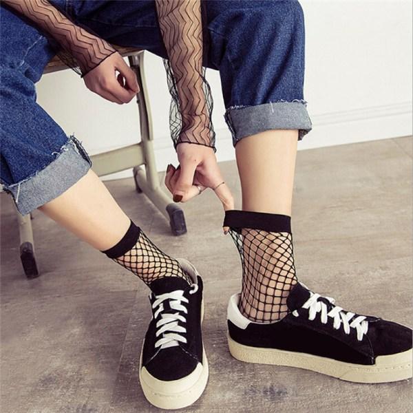 Kvinnor Black Fishnet Ankel High Socks Lady Mesh Spets Fish Net Sh