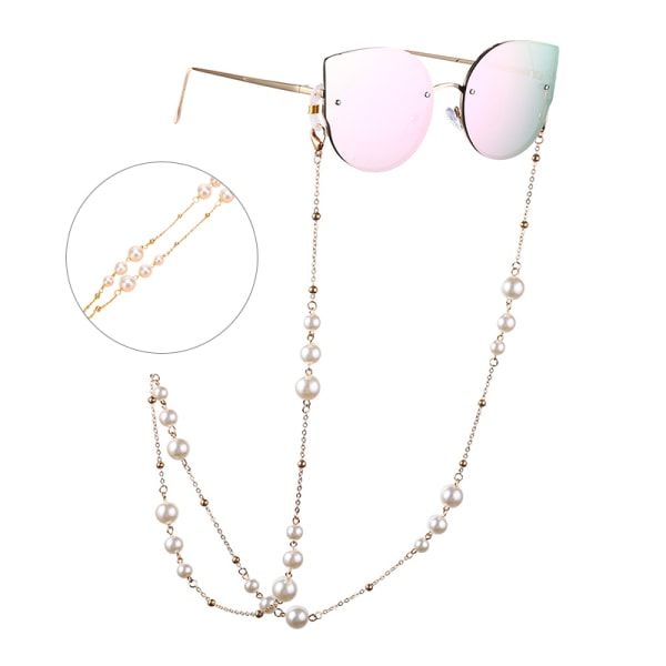 Kvinnor Pearl Beaded Eyewears Solglasögon Rep Rem Halsband Läs
