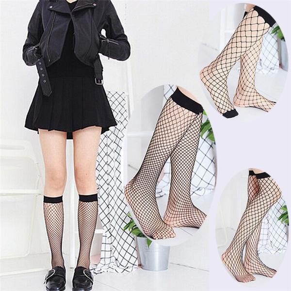 Kvinnor Ruffle Fishnet High Socks Mesh Spets Fish Net Short Socks
