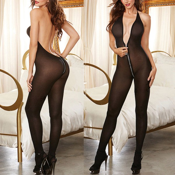 Kvinnors sexiga underkläder dragkedja klar kropp strumpa klänning underkläder