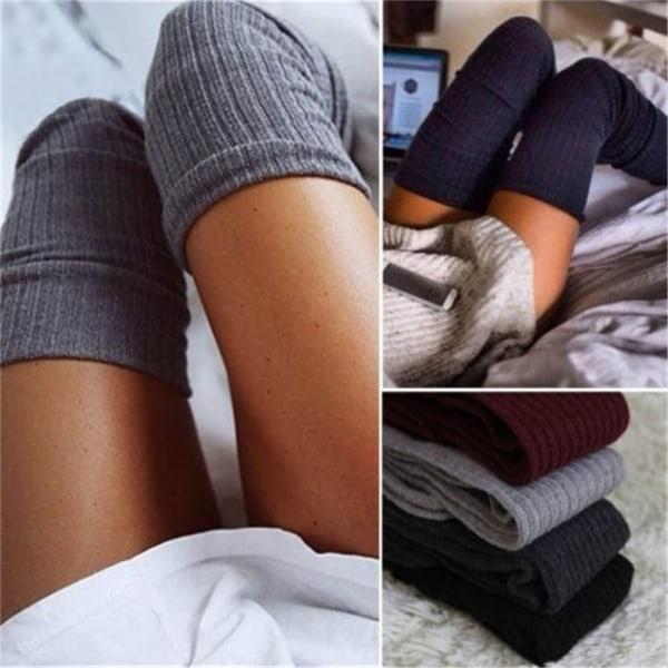 Kvinnors vinterkabel stickad över knä Långa stövlar Lår Hög Varm S