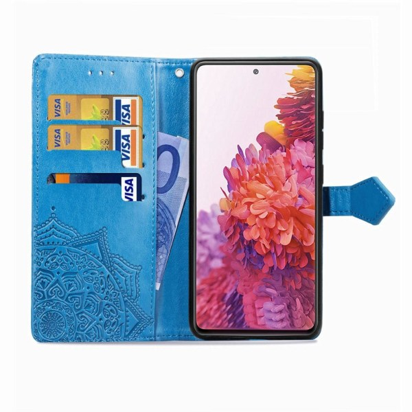 Samsung Galaxy S20 FE - Mandala Läder Fodral - Blå Blue Blå
