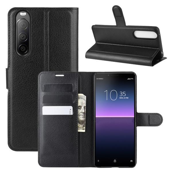 Sony Xperia 10 II - Litchi Fodral - Svart Black Svart