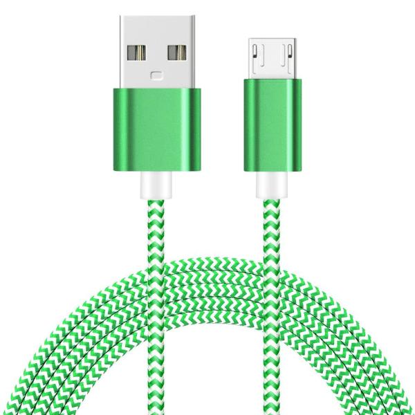 3 Meter - Micro USB Kabel I Slitstark Nylon - Grön Green Grön