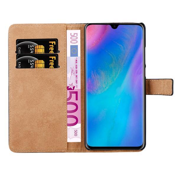 Huawei P30 Lite - Plånboksfodral I Äkta Läder - Brun Brown Brun