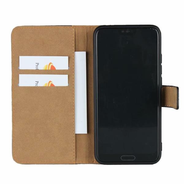 Samsung Galaxy A41 - Plånboksfodral I Äkta Läder - Välj Färg! Black Svart
