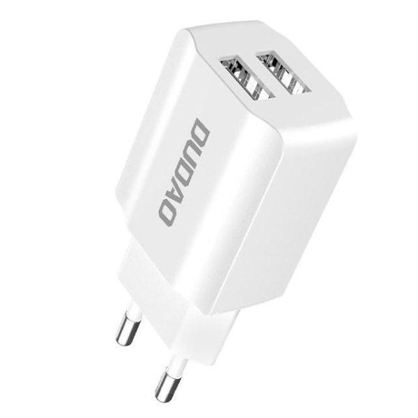 Dudao 2x USB-A 2.4A Väggadapter - Vit White Vit