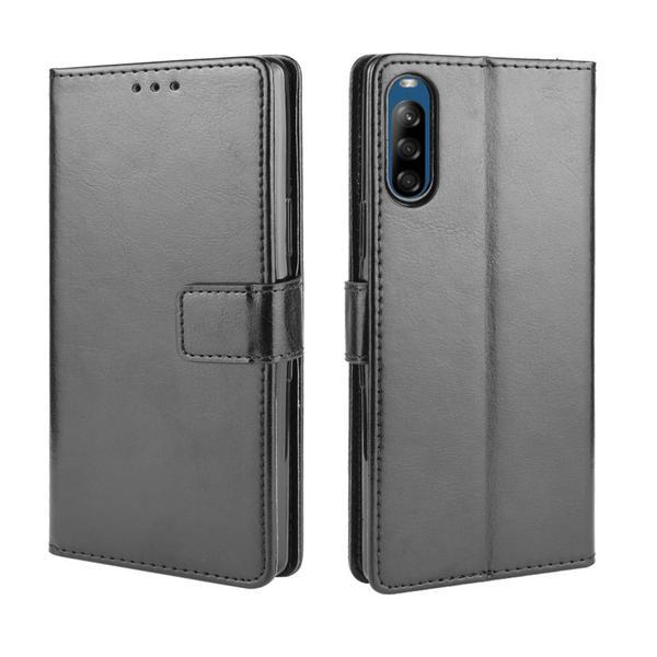 Sony Xperia L4 - Crazy Horse Plånboksfodral - Svart Black Svart