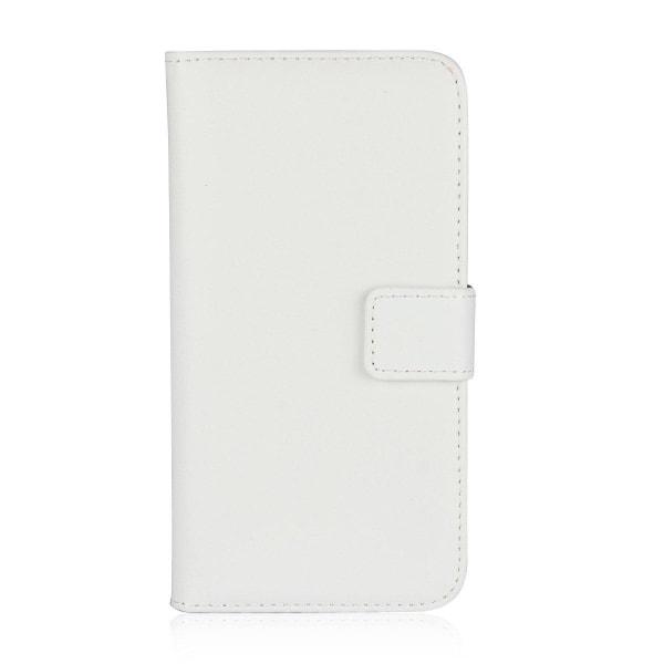 Samsung A6 Plus (2018) - Plånboksfodral I Äkta Läder - Vit White Vit