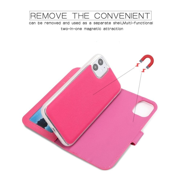iPhone 11 - 2in1 Litchi Textur Magnet Fodral - Rosa Pink Rosa