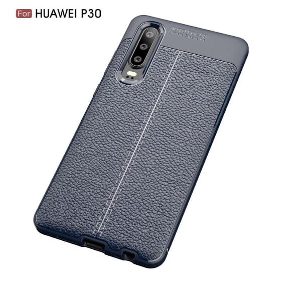 Huawei P30 - Litchi läderskal - Mörk Blå DarkBlue Mörk Blå