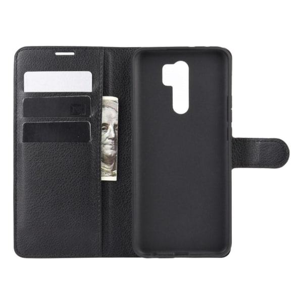 Xiaomi Redmi 9 - Litchi Plånboksfodral - Svart Black Svart