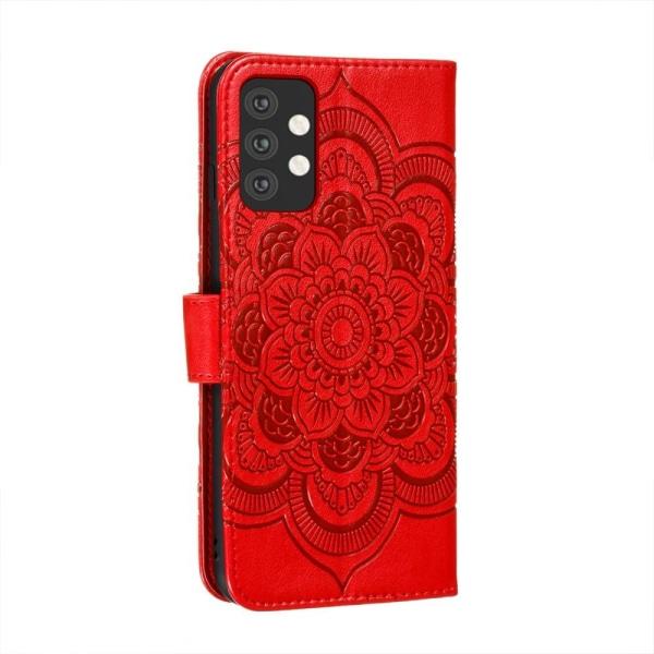 Samsung Galaxy A32 5G - Mandala Flower Fodral - Röd Red Röd