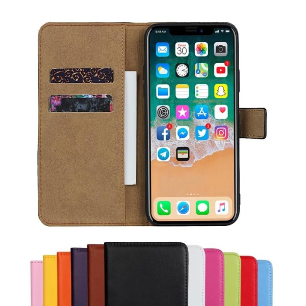 iPhone XR - Plånboksfodral I Äkta Läder - Välj Färg! Black Svart