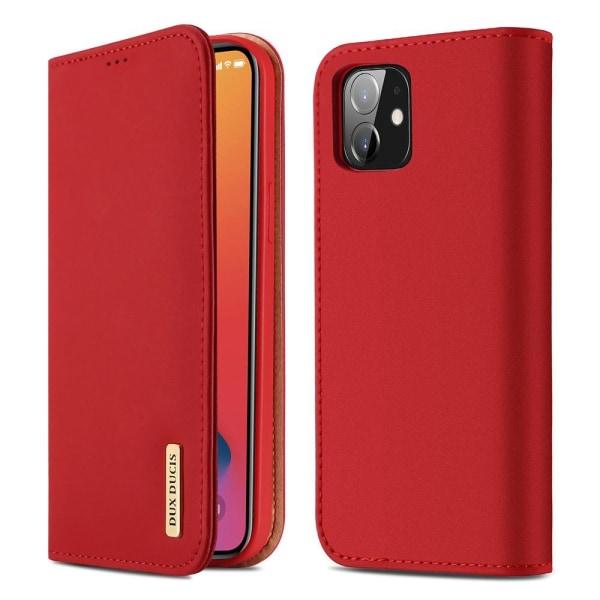 iPhone 12 / 12 Pro - DUX DUCIS Äkta Läder Fodral - Röd Red Röd