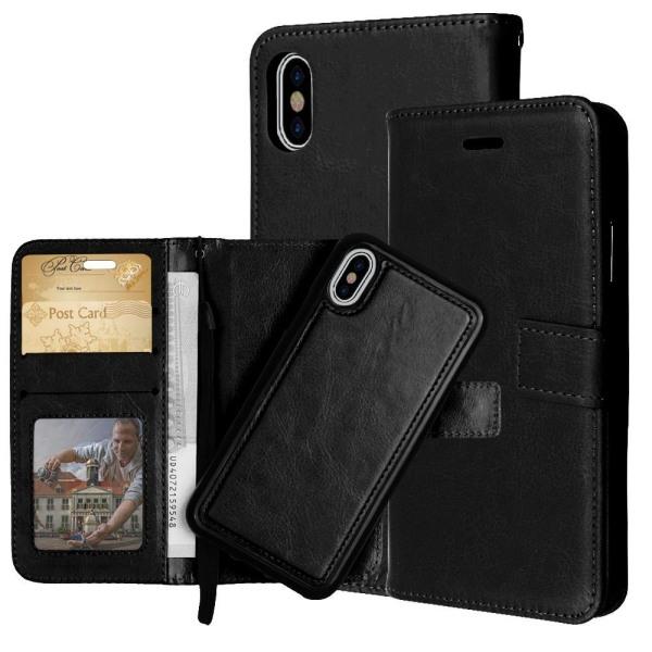 iPhone XR - Plånboksfodral / Magnet Skal 2 in 1 - Välj Färg! Black Svart